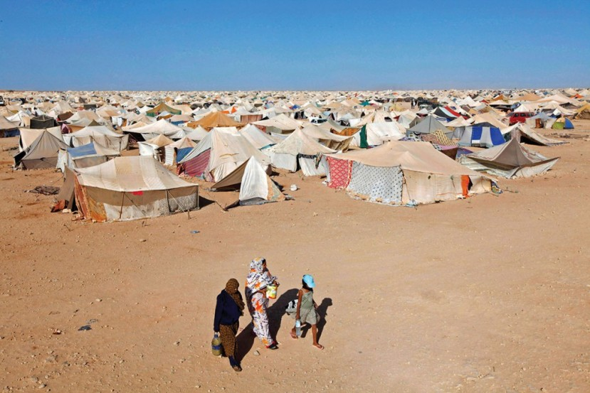 Sahrawi men, women and children nonviolently occupy their own land at Gdeim Izik in defiance of the continuing illegal occupation of Western Sahara by Morocco